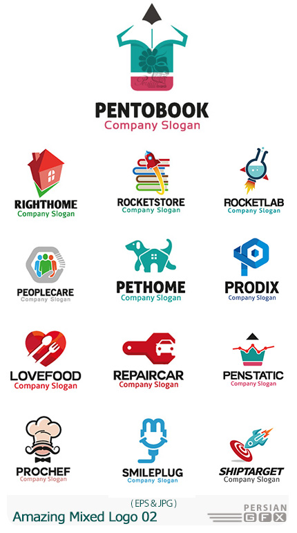 دانلود تصاویر وکتور آرم و لوگوهای مختلف شگفت انگیز - Amazing Mixed Logo 02