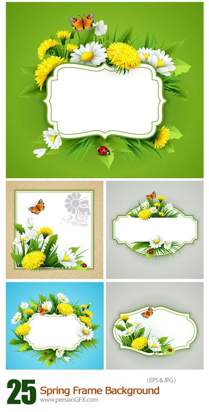 دانلود تصاویر وکتور فریم با پس زمینه بهار و گل و بوته - Spring Frame Background
