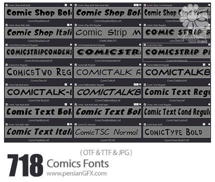 دانلود 718 فونت انگلیسی کامیک - 718 Comics Fonts
