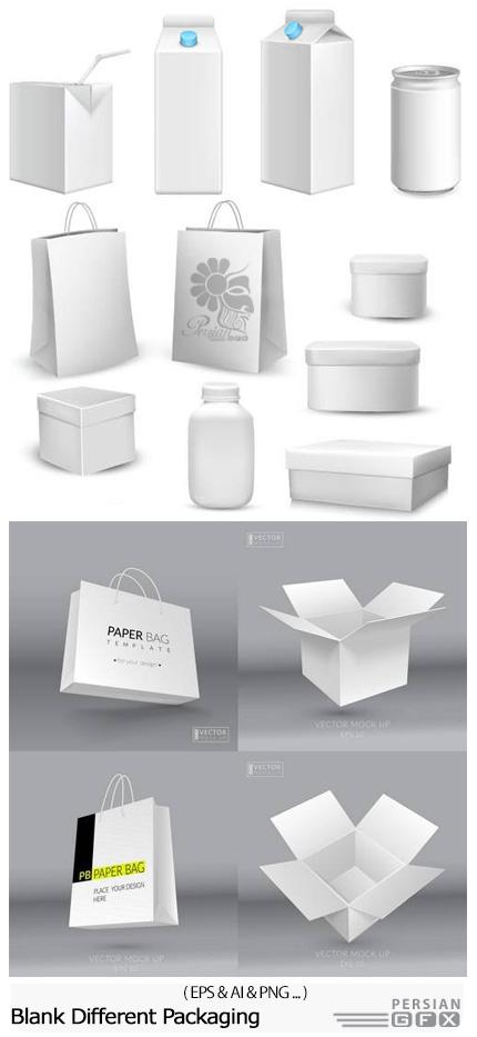 دانلود تصاویر وکتور بسته بندی کاغذی محصولات، جعبه پیتزا، دستمال، نوشابه و ... - Blank Different Packaging And Realistic Paper Bag