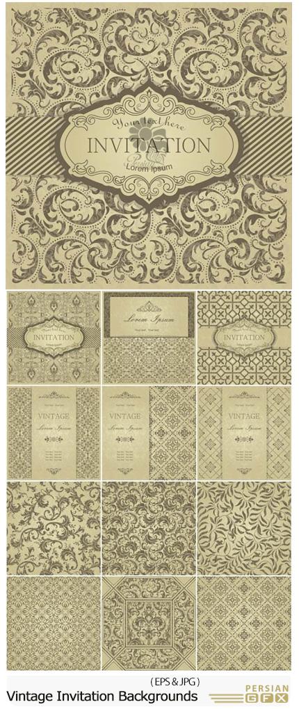 دانلود تصاویر وکتور پس زمینه های تزئینی با طرح گلدار قدیمی - Vintage Invitation Vector Backgrounds With Patterns And Ornaments