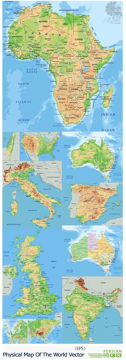 دانلود تصاویر وکتور نقشه فیزیکی جهان - Physical Map Of The World Vector