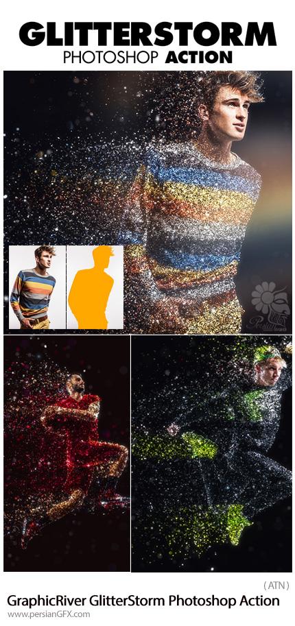 دانلود اکشن فتوشاپ ایجاد افکت طوفان ذرات ریز بر روی تصاویر از گرافیک ریور - GraphicRiver GlitterStorm Photoshop Action