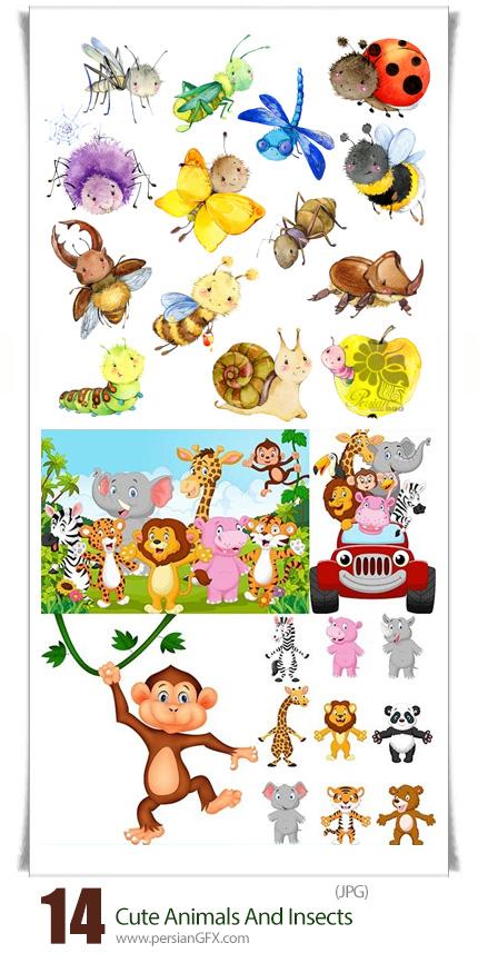 دانلود تصاویر با کیفیت حیوانات و حشرات کارتونی و آبرنگی، شیر، پلنگ، روباه، پروانه، پرندگان و ... - Cute Animals And Insects