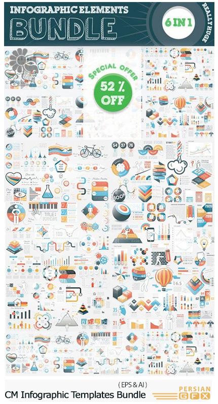 دانلود مجموعه تصاویر وکتور نمودار های اینفوگرافیکی متنوع - CM Infographic Templates Bundle