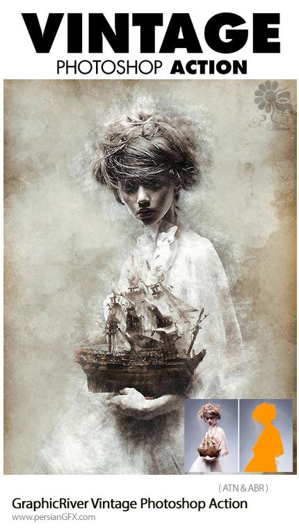دانلود اکشن فتوشاپ ایجاد افکت قدیمی بر روی تصاویر از گرافیک ریور - GraphicRiver Vintage Photoshop Action