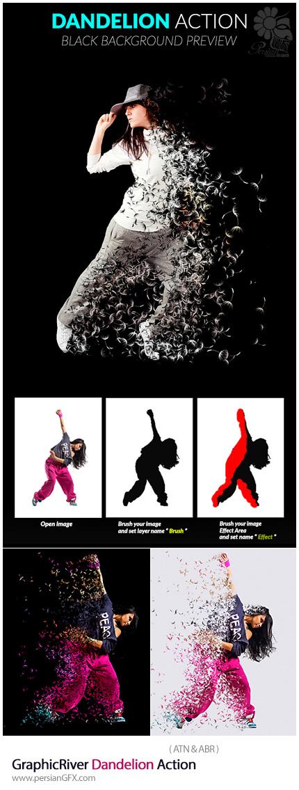 دانلود اکشن فتوشاپ ایجاد افکت قاصدک های پراکنده بر روی تصاویر از گرافیک ریور - GraphicRiver Dandelion Action