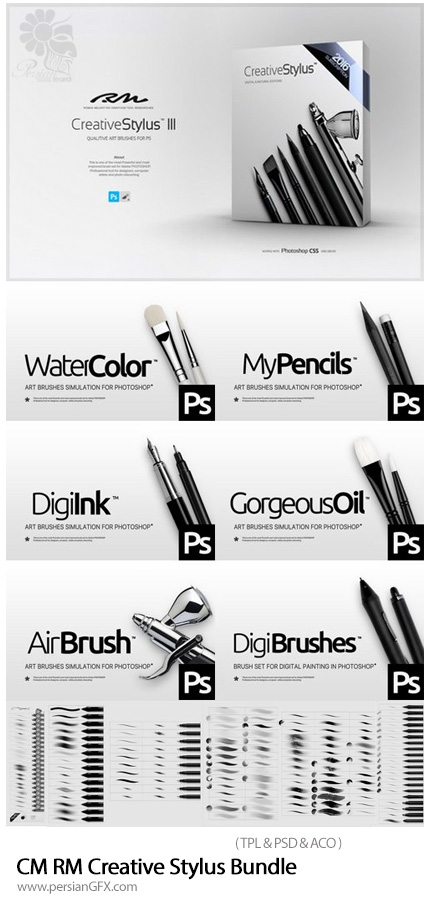 دانلود پک براش فتوشاپ برای قلم های استایلیوس - CM RM Creative Stylus III Bundle