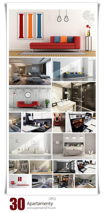 دانلود تصاویر با کیفیت طراحی داخلی خانه آپارتمانی، آشپزخانه، سالن پذیرایی، اتاق خواب و حمام و دستشویی - Apartamenty