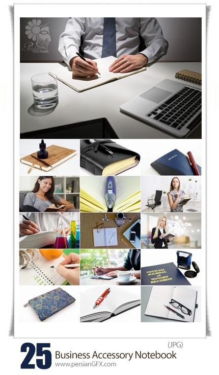 دانلود تصاویر با کیفیت لوازم جانبی دفترکار، دفترچه یادداشت، خودکار - Collection Of Business Bookmark Accessory Notebook Pen Writing