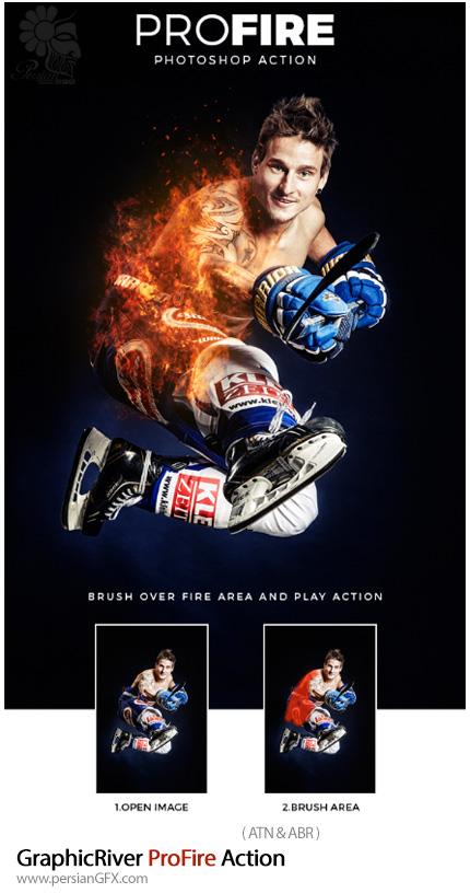 دانلود اکشن فتوشاپ ایجاد افکت آتش حرفه ای بر روی تصاویر از گرافیک ریور - GraphicRiver ProFire Action