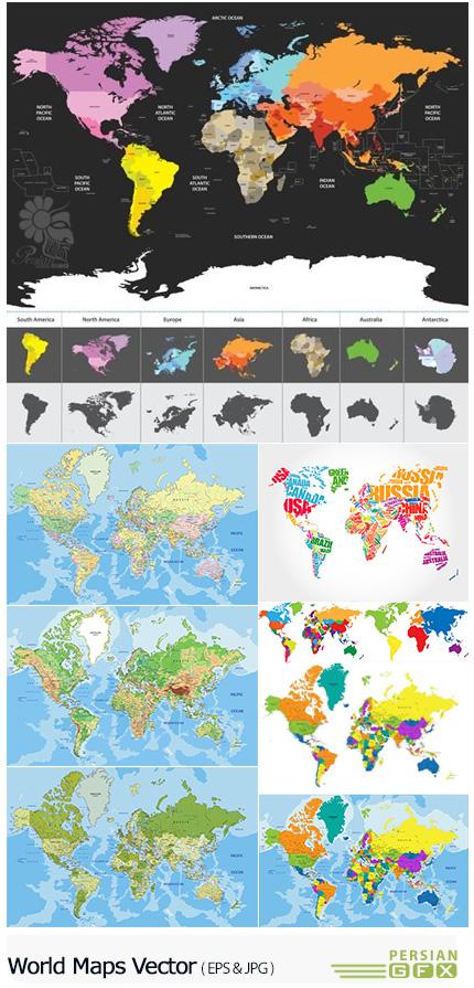 دانلود تصاویر وکتور نقشه های مختلف جهان - World Maps Vector