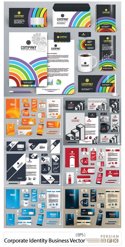دانلود مجموعه تصاویر وکتور ست اداری، بروشور، کارت ویزیت، پاکت نامه و ... - Corporate Identity Business Templates Vector