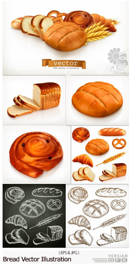 دانلود تصاویر وکتور نان فانتزی، نان باگت، نان تست و ... - Bread Vector Illustration