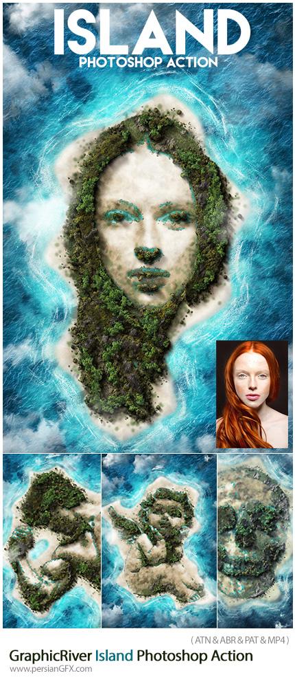دانلود اکشن فتوشاپ تبدیل تصاویر به جزیره به همراه آموزش ویدئویی از گرافیک ریور - GraphicRiver Island Photoshop Action