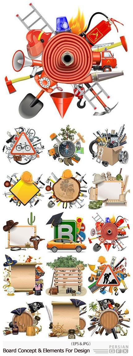 دانلود تصاویر وکتور مفهومی و عناصر طراحی شغل های متنوع، آژانس مسافربری، آتش نشانی، قایقرانی و ... - Board Concept And Elements For Design