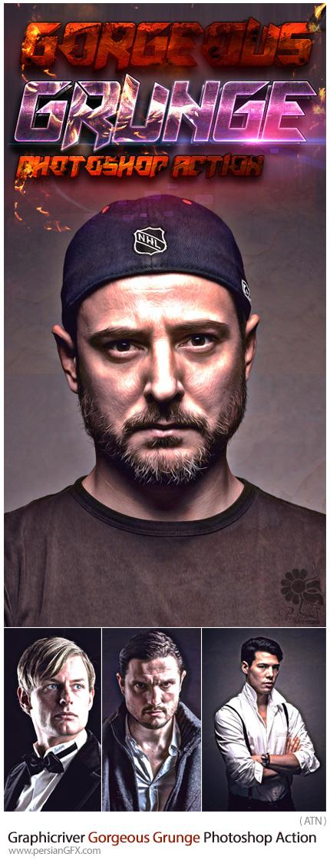 دانلود اکشن فتوشاپ ایجاد افکت گرانج پر زرق و برق بر روی تصاویر از گرافیک ریور - Graphicriver Gorgeous Grunge Photoshop Action
