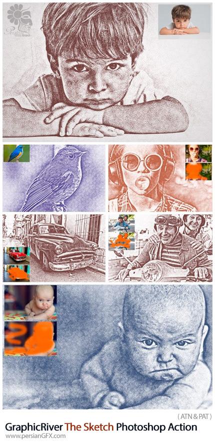 دانلود اکشن فتوشاپ تبدیل تصاویر به طرح اولیه نقاشی حرفه ای از گرافیک ریور - GraphicRiver TheSketch Sketch Photoshop Action
