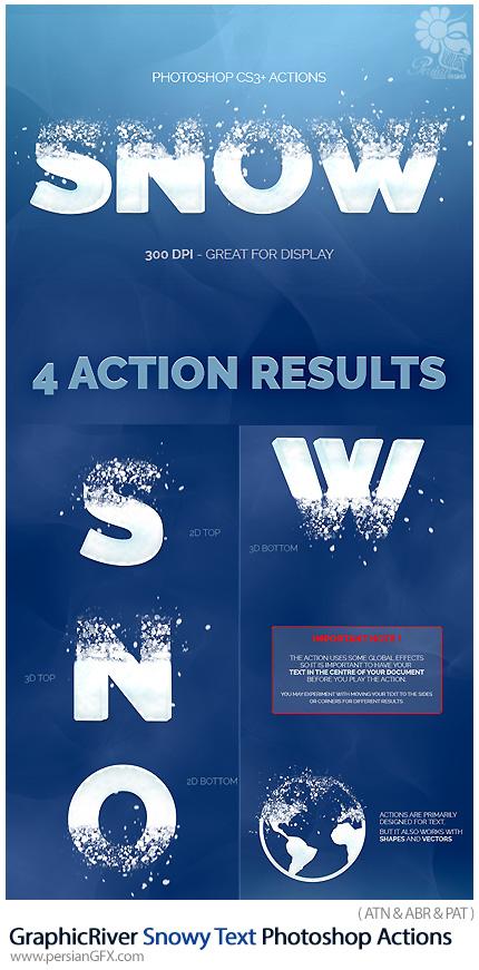 دانلود اکشن فتوشاپ ایجاد افکت دانه های برف بر روی متن از گرافیک ریور - GraphicRiver Snowy Text Photoshop Actions