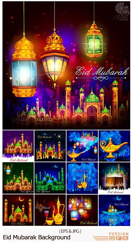دانلود تصاویر وکتور پس زمینه ماه مبارک رمضان، عید مبارک - Eid Mubarak Background