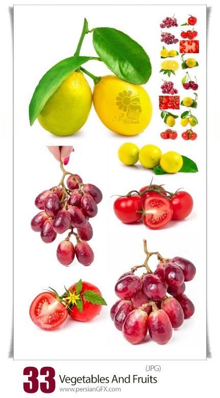 دانلود تصاویر با کیفیت میوه و سبزیجات، انگور، لیمو، گوجه فرنگی - Vegetables And Fruits