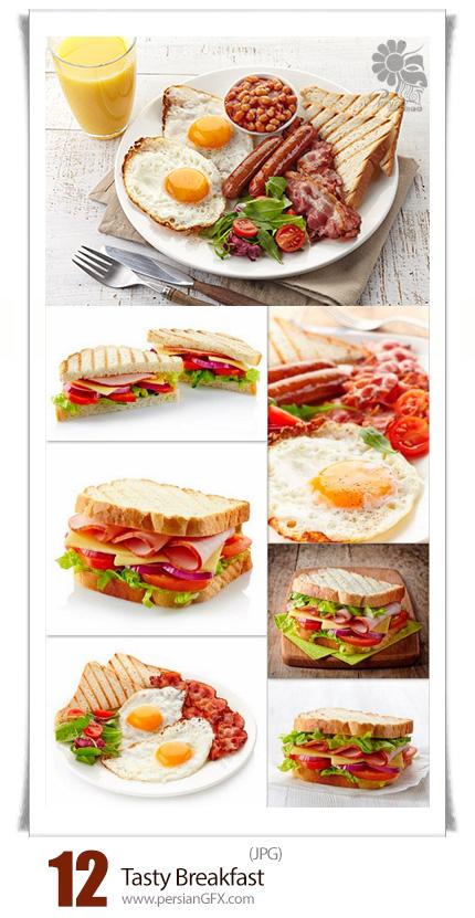 دانلود تصاویر با کیفیت صبحانه، ساندویچ، تخم مرغ، آبمیوه - Tasty Breakfast