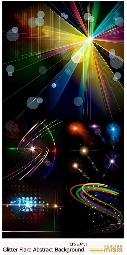 دانلود تصاویر وکتور پس زمینه های انتزاعی نورهای رنگی درخشان - Glitter Flare Beam Abstract Background