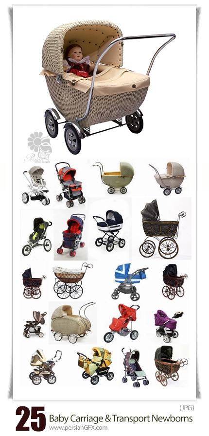 دانلود تصاویر با کیفیت کالسکه و وسیله حمل و نقل کودک - Baby Carriage And Transport For Newborns
