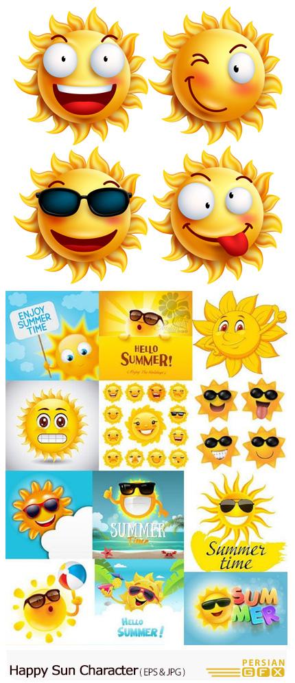 دانلود تصاویر وکتور کاراکتر کارتونی خورشید خوشحال - Happy Sun Character