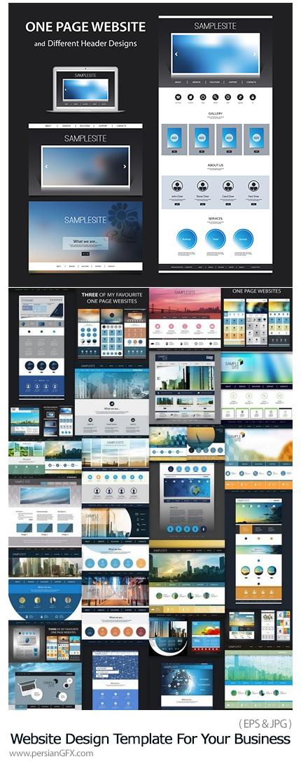 دانلود مجموعه تصاویر وکتور قالب آماده وب تجاری - Website Design Template For Your Business