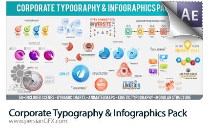 دانلود قالب آماده افترافکت نمایش تایپوگرافی و نمودارهای اینفوگرافیکی متحرک به همراه آموزش ویدئویی از ویدئوهایو - Videohive Corporate Typography And Infographics