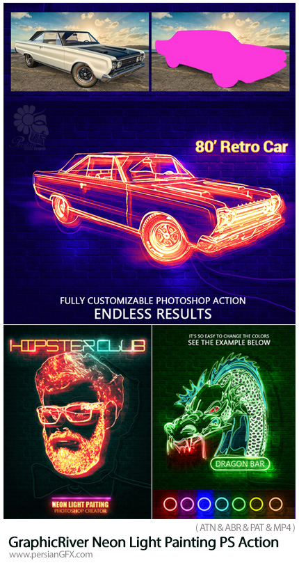 دانلود اکشن فتوشاپ ایجاد افکت نورهای رنگی ئنون بر روی تصاویر به همراه آموزش ویدئویی از گرافیک ریور - GraphicRiver Neon Light Painting Photoshop Action