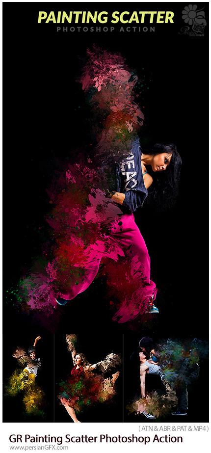 دانلود اکشن فتوشاپ ایجاد افکت نقاشی با رنگ های پراکنده به همراه آموزش ویدئویی از گرافیک ریور - GraphicRiver Painting Scatter Photoshop Action