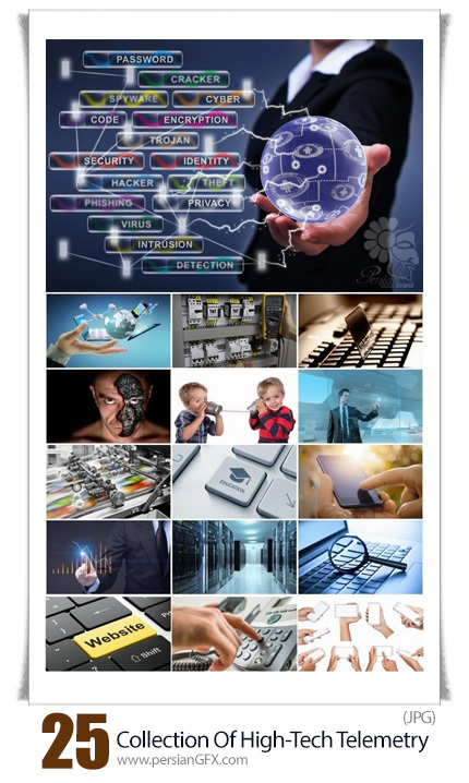 دانلود مجموعه تصاویر با کیفیت تکنولوژی پیشرفته نانو ارتباطات دور با اتصال به کامیپوتر - Collection Of High-Tech Nanotechnology Telemetry Communication Computer Connection