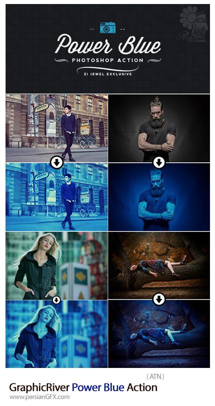 دانلود اکشن فتوشاپ ایجاد افکت آبی رنگ بر روی تصاویر از گرافیک ریور - GraphicRiver Power Blue Action