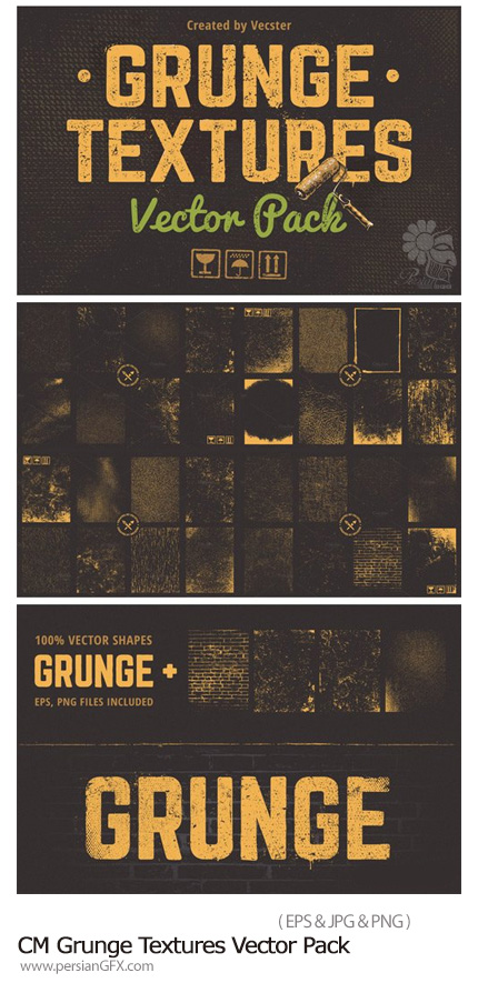 دانلود مجموعه تصاویر وکتور تکسچر با طرح های گرانج - CM Grunge Textures Vector Pack