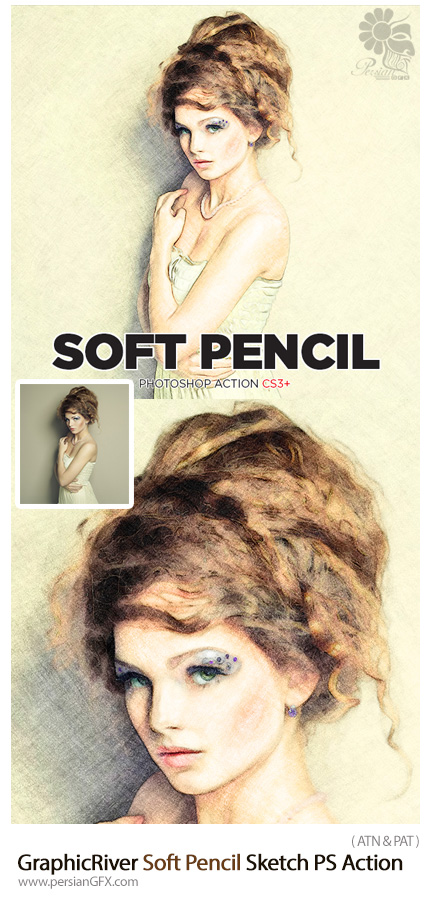 دانلود اکشن فتوشاپ تبدیل تصاویر به طرح اولیه نقاشی با مداد نرم از گرافیک ریور - GraphicRiver Soft Pencil Sketch Photoshop Action