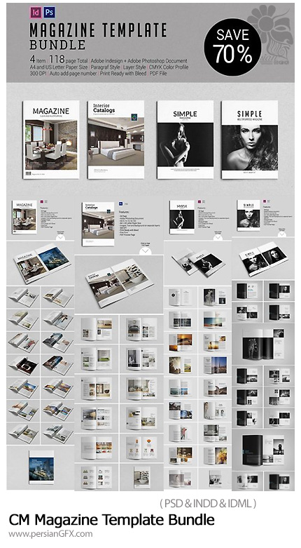 دانلود مجموعه قالب لایه باز مجله با فرمت ایندیزاین - CM Magazine Template Bundle