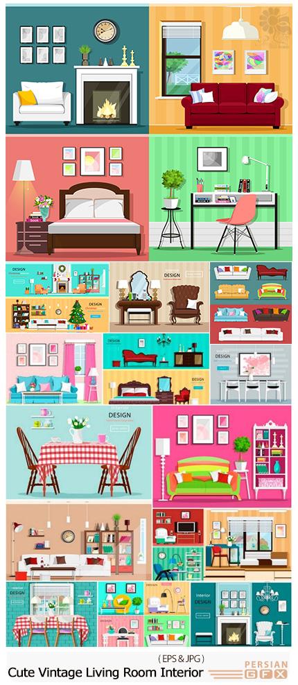 دانلود تصاویر وکتور کارتونی طراحی داخلی سالن پذیرایی، اتاق خواب، اتاق کار و ... - Cute Vintage Living Room Interior