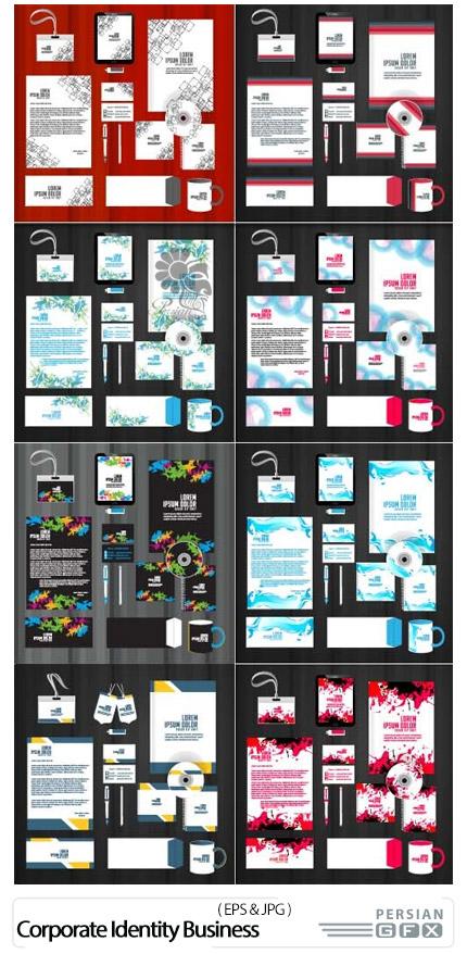 دانلود مجموعه تصاویر وکتور ست اداری، کارت ویزیت، پاکت نامه، سربرگ و ... - Corporate Identity Business Templates Vector