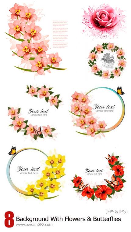 دانلود تصاویر وکتور فریم های تزئینی با گل و پروانه های رنگارنگ - Holiday Background With Red Beauty Flowers And Butterflies