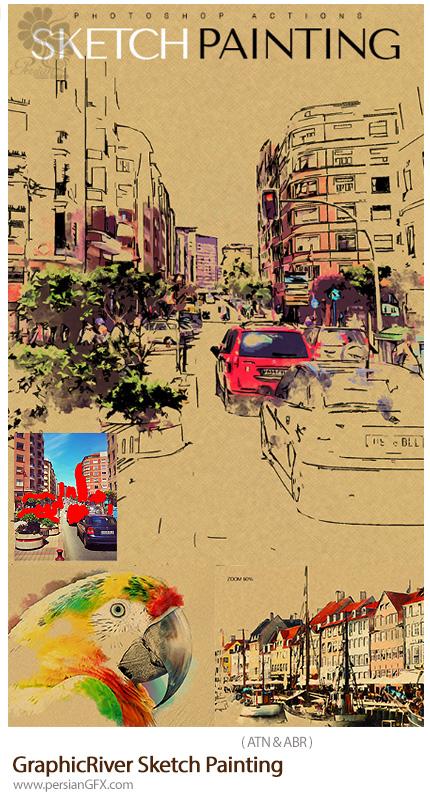 دانلود اکشن فتوشاپ تبدیل تصاویر به طرح اولیه نقاشی از گرافیک ریور - GraphicRiver Sketch Painting