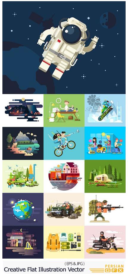 دانلود تصاویر وکتور طرح های کارتونی متنوع تخت - Creative Flat Illustration Vector