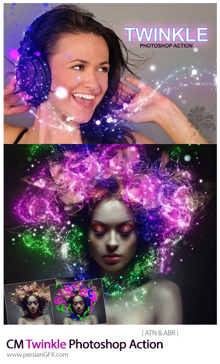 دانلود اکشن فتوشاپ ایجاد افکت ذرات نورانی درخشان بر روی تصاویر - CM Twinkle Photoshop Action