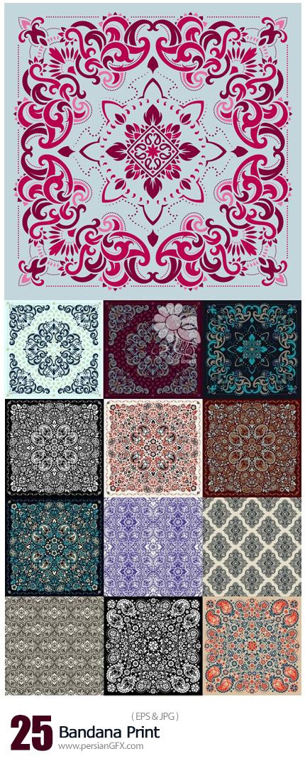 دانلود تصاویر وکتور پترن گلدار چاپی - Bandana Print