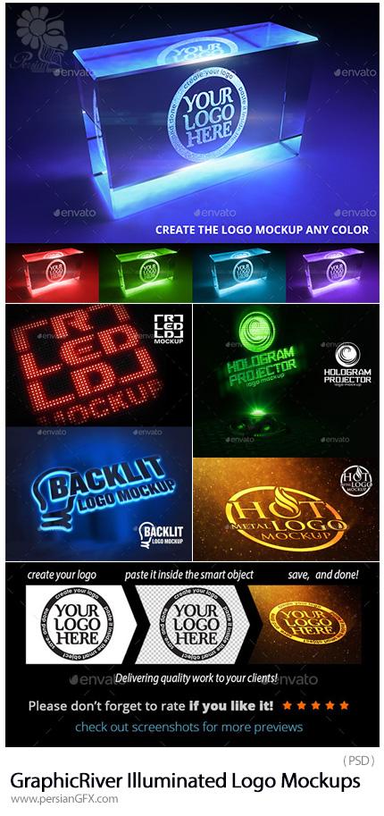 دانلود موکاپ لایه باز لوگوهای درخشان از گرافیک ریور - GraphicRiver Illuminated Logo Mockups