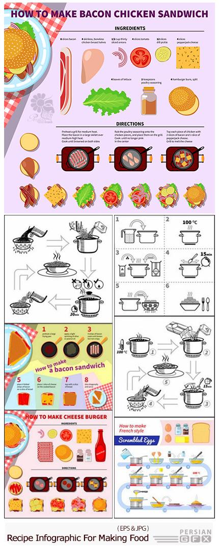 دانلود تصاویر وکتور نمودار اینفوگرافیکی مواد لازم و دستور پخت غذا - Recipe Infographic For Making Food
