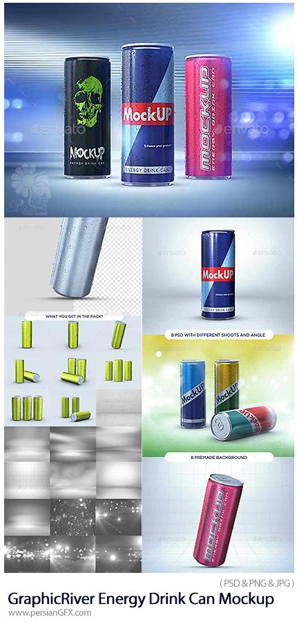 دانلود موکاپ لایه باز قوطی نوشابه انرژی زا از گرافیک ریور - GraphicRiver Energy Drink Can Mockup