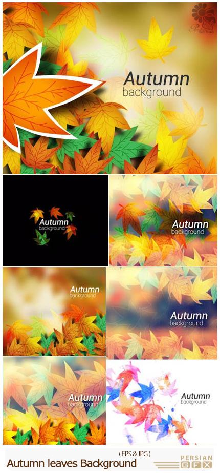 دانلود تصاویر وکتور پس زمینه پاییزی با برگ های رنگارنگ - Autumn leaves On Colorful Background Vector