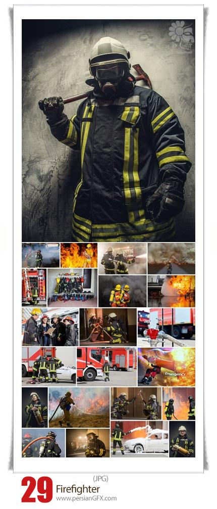 دانلود تصاویر با کیفیت آتش نشان، ماشین آتش نشانی، وسایل آتش نشانی، آتش - Firefighter